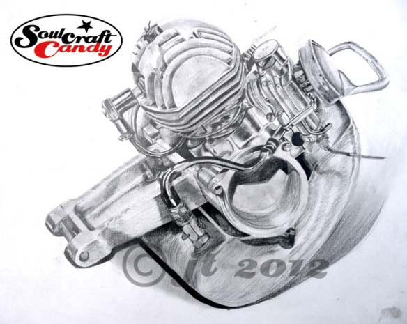 Pencil drawing of old Cyclomotor circa 1981