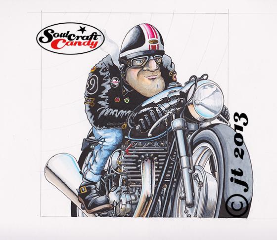 Soulcraftcandy cartoon cafe racer.