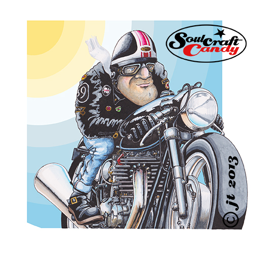 Soulcraftcandy cartoon cafe racer.