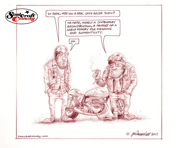 Biker cartoon by Jon Tremlett for soulcraftcandy.