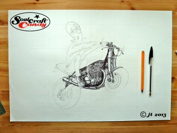 Inking a bike cartoon by Jon Tremlett for Soulcraftcandy.