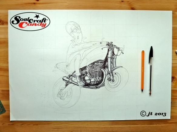 Inking a bike cartoon by Jon Tremlett for Soulcraftcandy.