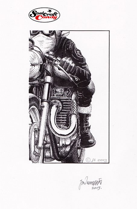 Pen and ink drawing by Jon Tremlett for soulcraftcandy.