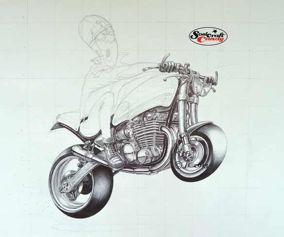 Biro drawing by Jon Tremlett for soulcraftcandy 2013.