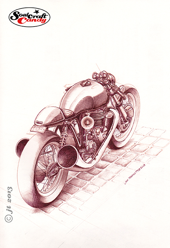 Bike sketch in brown ink by Jon Tremlett ©2013