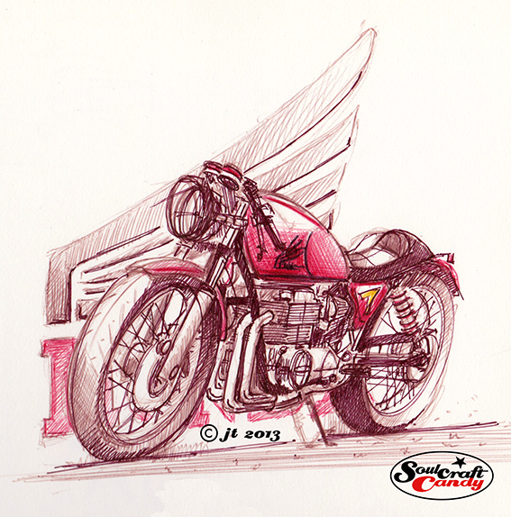 CB750 sketch by Jon Tremlett for Soulcraftcandy