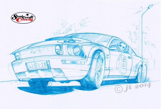 Mustang sketch by Jon Tremlett for soulcraftcandy.