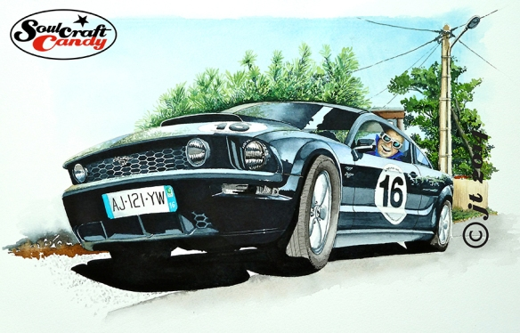 Ford Mustang water-colour by Jon Tremlett ©2014