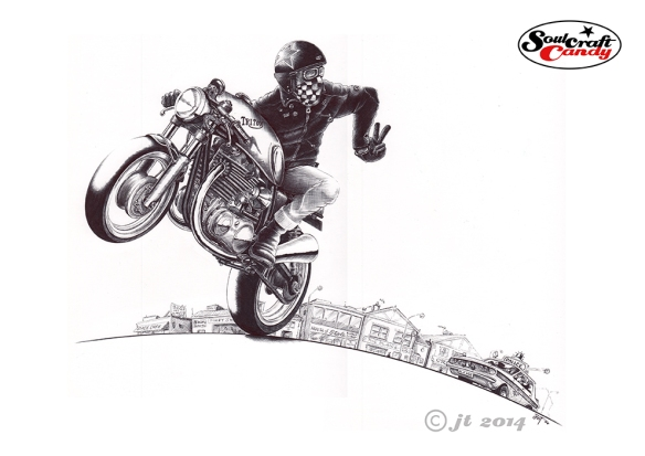 """Catch me if you can"", a biro drawing by Jon Tremlett for Soulcraftcandy."
